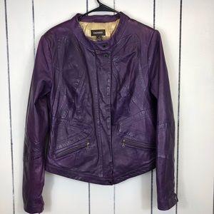 Danier Purple Leather Moto Jacket Sz M